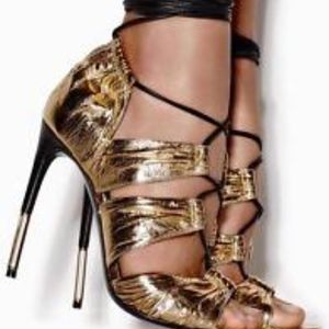 Gold Laminated Eel Tom Ford Heels